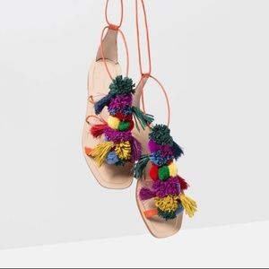 NWT ZARA Multi Color Leather POM POM flat sandals